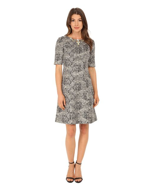 Tahari by ASL   Золотой Boucle With Necklace Dress /Ivory Womens