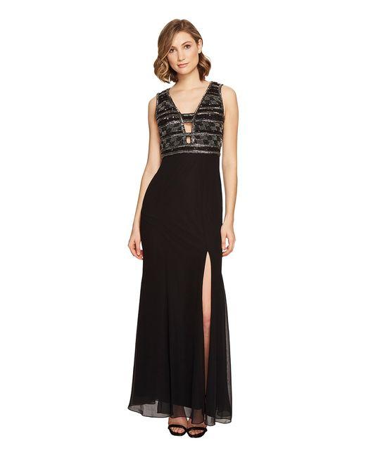 Adrianna Papell | Чёрный V-Neck Bead Bodice Gown Womens Dress