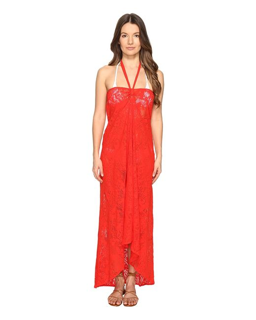 Fuzzi | Красный Halter Lace Cover-Up Flame Womens Clothing