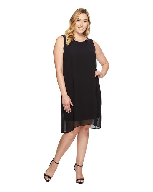 Vince Camuto Specialty Size | Чёрный Plus Size Sleeveless Chiffon Overlay Dress