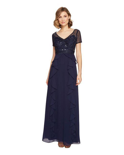 Adrianna Papell | Navy Short Sleeve Beaded Dress W Cascade Ruffles