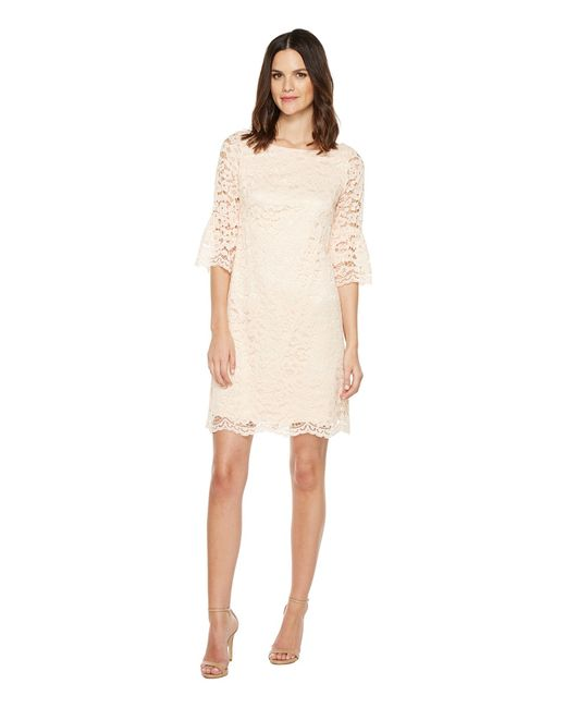 Vince Camuto | Розовый Lace Shift Dress With Bell Sleeves Blush