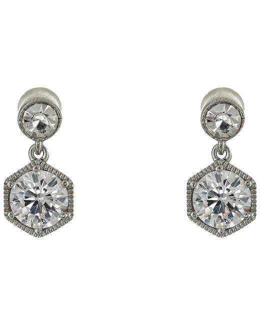 Lauren Ralph Lauren   Серебристый Headlines Double Drop Earrings Crystal Earring