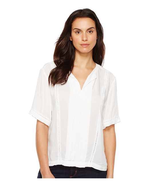 Calvin Klein Jeans | Белый Lace Inset Blouse Vanilla Ice Womens Blouse