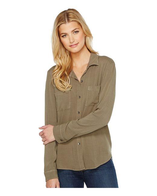 Splendid | Olive Button Up Shirt Military Womens Long Sleeve