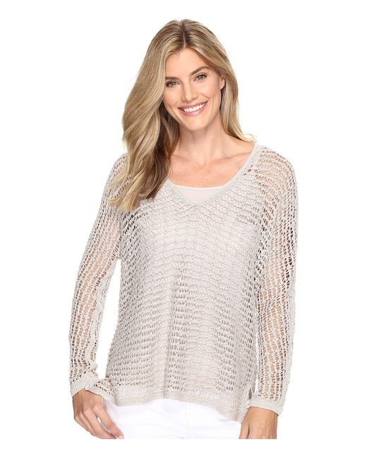 NIC+ZOE | Taupe Sun Catcher Top French Linen Womens Sweater