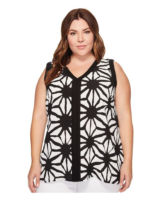 Vince Camuto Specialty Size | Чёрный Plus Size Sleeveless Tribal Starlight High-Low