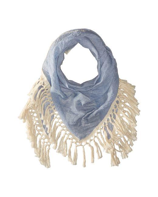 STEVE MADDEN | Голубой Oversized Tassel Triangle Day Wrap Denim Scarves