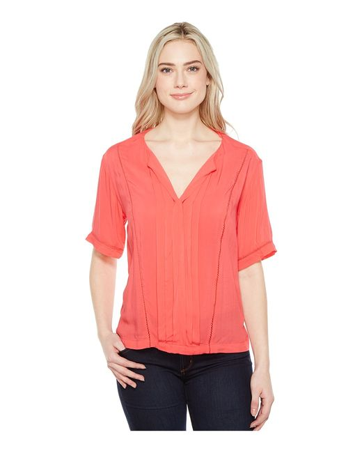 Calvin Klein Jeans | Multi Lace Inset Blouse Teaberry Womens Blouse