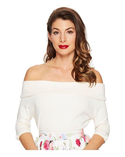 Unique Vintage | Белый Off Shoulder Stretch Knit Brigitte Top Cream