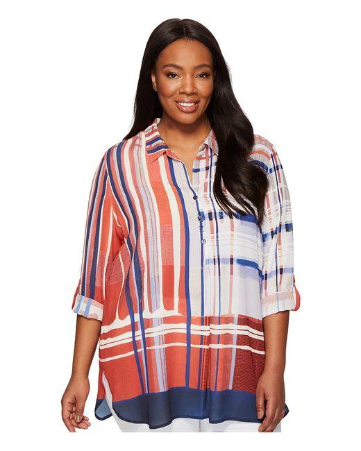 NIC+ZOE   Multi Plus Size Painted Plaid Top Womens Clothing