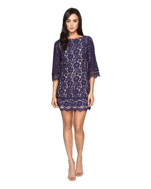 Vince Camuto | Navy Lace Elbow Sleeve Shift Dress Womens Dress