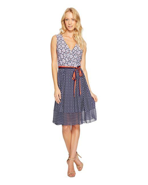 Donna Morgan | Navy Wrap Front Dress With Combo Peplum Skirt