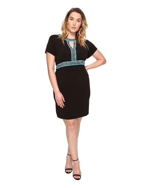 Michael Michael Kors | Чёрный Plus Size Border Print Combo Dress