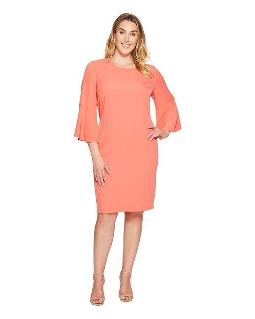 Calvin Klein | Розовый Plus Size Bell Sleeve Dress Porcelain Rose