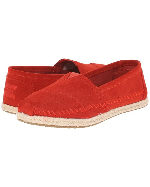Toms   Красный Seasonal Classics Suede/Rope Womens Slip On Shoes