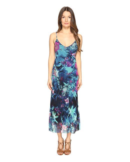 Fuzzi | Голубой Tropical Flower Print Spaghetti Straps Cami Dress