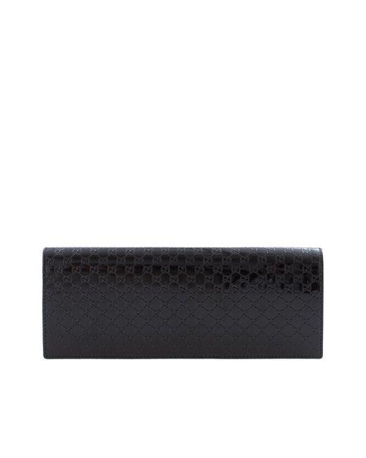 Gucci | Чёрный Клатч Из Лакированной Кожи Broadway Microssima