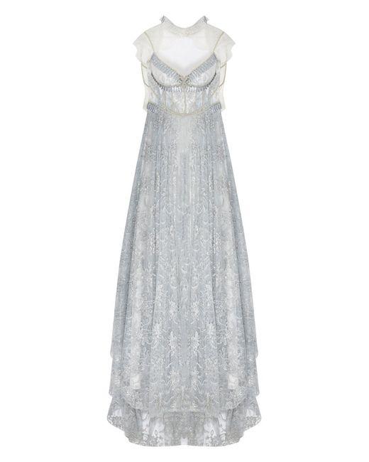 Ozlem Suer   Женское Белое Платье С Кристаллами