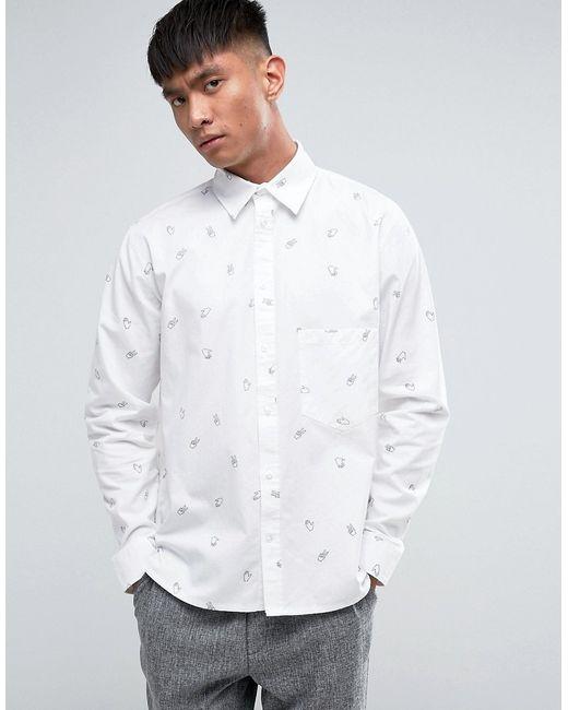 Cheap Monday | Мужская Белая Рубашка С Принтом