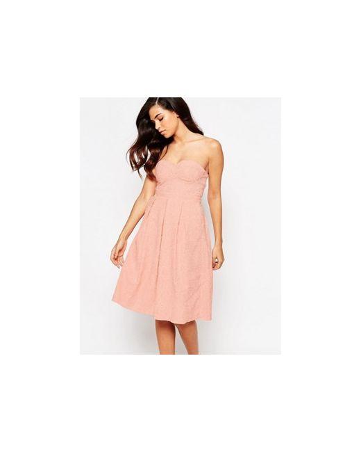 Lashes of London | Женское Розовое Платье Миди Для Выпускного