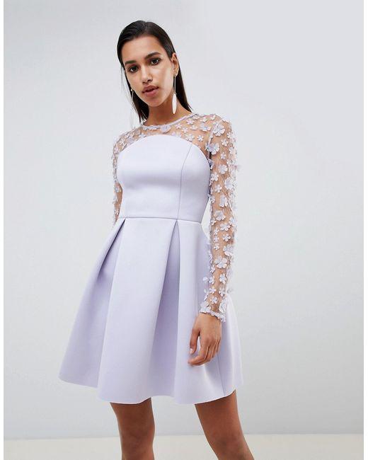 6aad4f25217 Asos - Женское Фиолетовое Платье Мини Бандо Для Выпускного С Цветочным  Кружевом Design