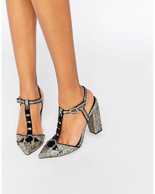 Little Mistress | Женские Золотые Блестящие Туфли На Каблуке С Тобразным Ремешком