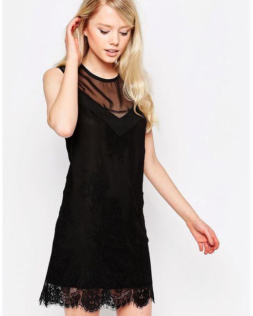 Jovonna | Женское Чёрное Цельнокройное Платье С Кружевной Отделкой Rogers