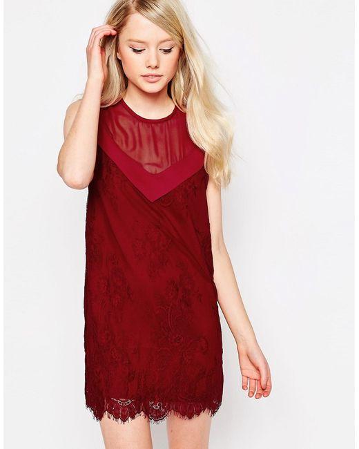 Jovonna | Женское Красное Цельнокройное Платье С Кружевной Отделкой Rogers