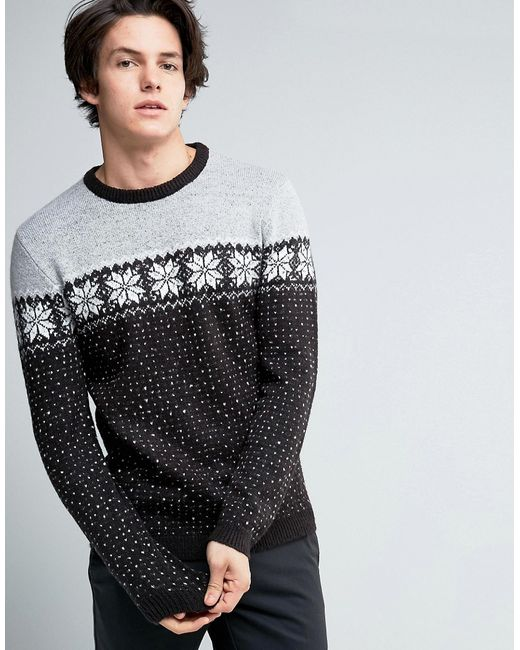 Asos | Серый Jumper With Snowflake Chest