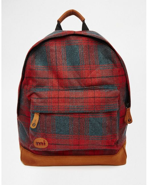 MI-PAC   Красный Рюкзак В Клетку