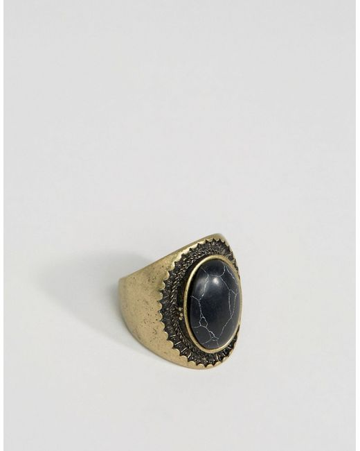 Asos | Золотой Oversized Signet With Black Stone