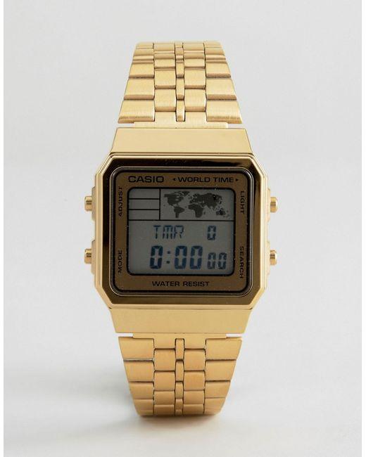 Casio | Мужские Золотые Золотистые Цифровые Часы A500wa-1df