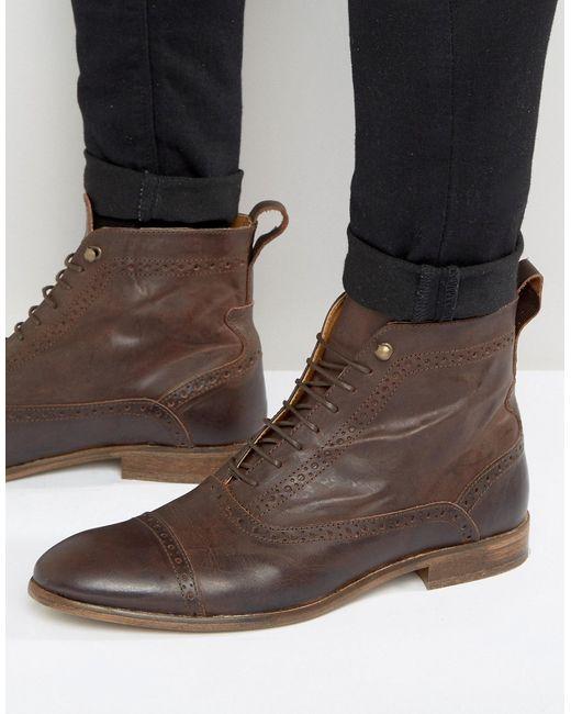 Asos | Мужские Коричневые Кожаные Ботинки На Шнуровке