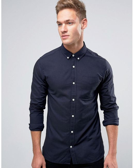 Jack & Jones   Синий Premium Long Sleeve Oxford Shirt