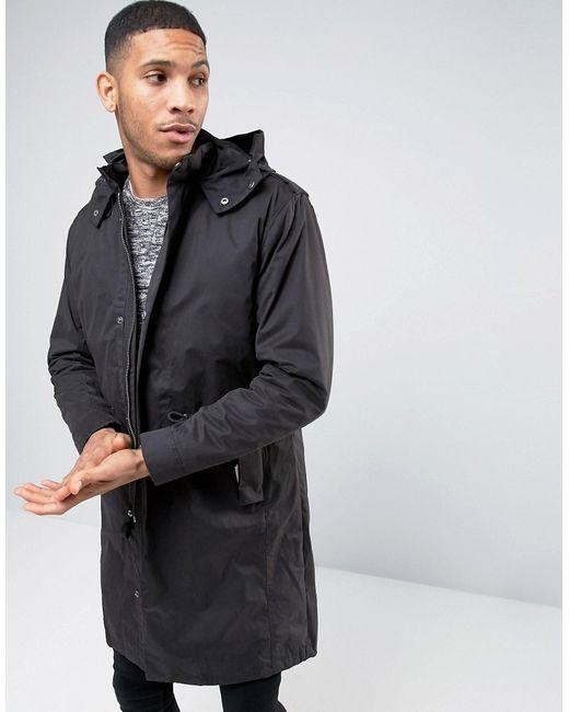 Selected Homme | Мужская Чёрная Парка Со Съемной Курткой-Пилот Premium