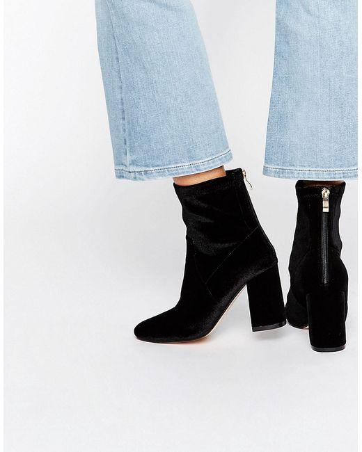 Truffle Collection | Чёрный Truffle Unlined Velvet High Ankle Boot