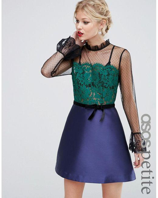 ASOS PETITE | Женское Многоцветное Платье Мини С Кружевной Отделкой Pie Crust