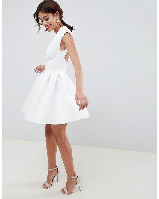 70fb4bbf63f Asos - Женское Белое Платье Мини Для Выпускного С Открытой Спиной Design