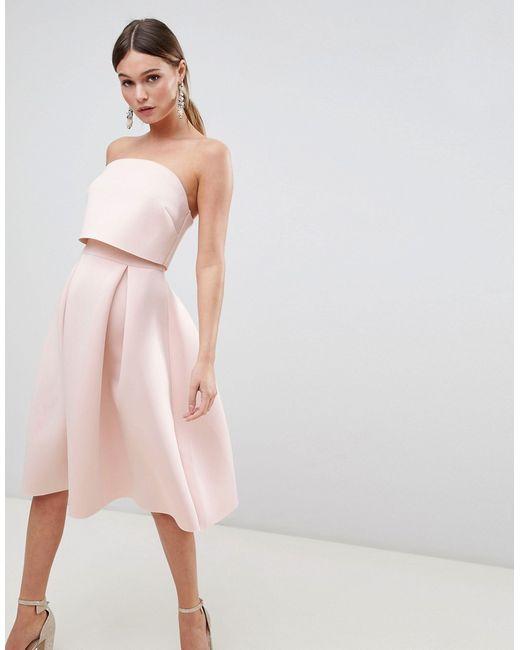 089ddfd9b19 Asos - Женское Розовое Платье-Бандо Миди Для Выпускного С Кроп-Топом Design