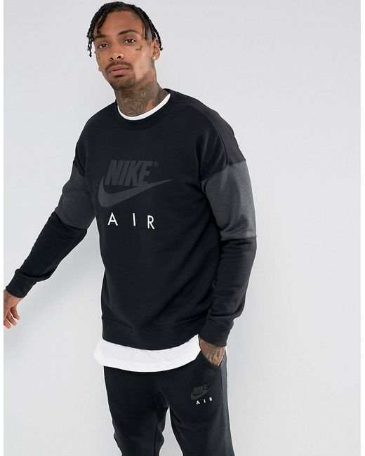 136d80f8 Мужские Чёрные Свитшот С Круглым Вырезом Air 861622-010 Nike 5811505