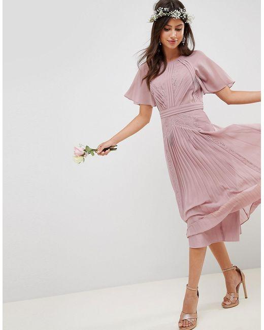 60d485dce93 Asos - Женское Розовое Плиссированное Платье Миди С Кружевными Вставками  Design