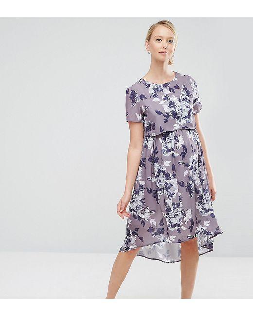 Hope and Ivy Maternity | Фиолетовое Платье Миди 2 В 1 Для Беременных