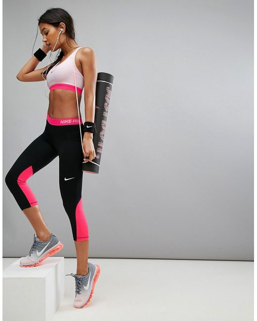 Nike | Женские Чёрные Черные Капри С Розовым Поясом Pro Training