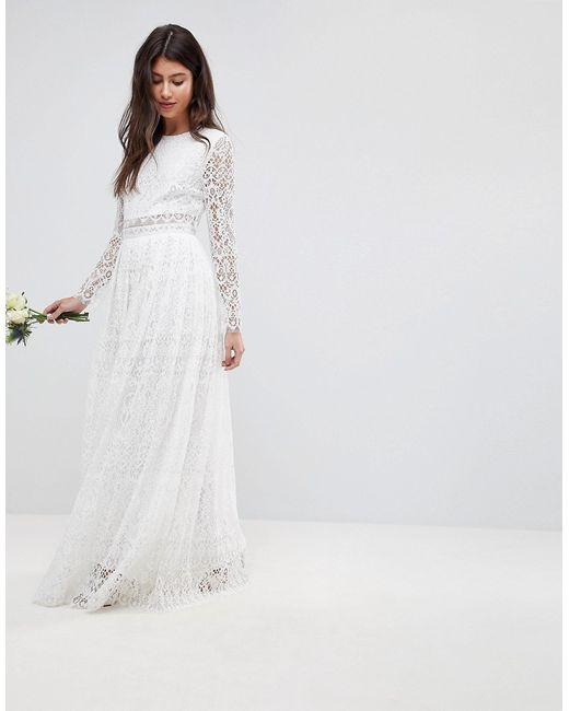 5d2bde13384 Asos - Женское Белое Кружевное Платье Макси С Кроп-Топом И Длинными  Рукавами Bridal