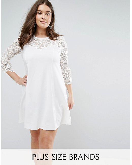 Praslin | Кремовое Короткое Приталенное Платье С Кружевными Рукавами