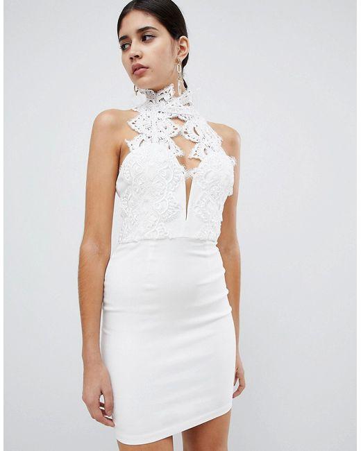 e455b30ca2d6 Rare - Женское Белое Платье Мини С Кружевной Отделкой Глубоким Вырезом И  Высоким Воротнико