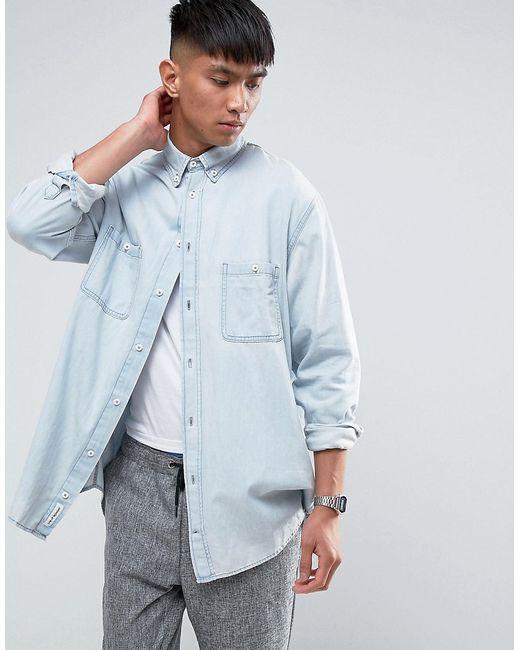 Cheap Monday | Мужская Синяя Бледно-Синяя Джинсовая Рубашка