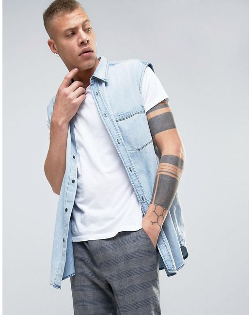Cheap Monday | Мужская Синяя Джинсовая Рубашка Solder