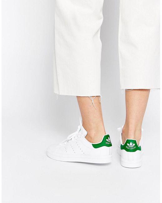 Adidas | Женские Бело-Зеленые Кроссовки Originals Stan Smith